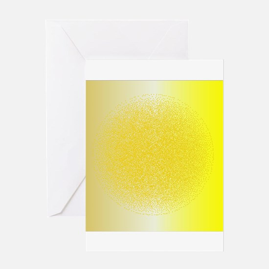 Dotted Yellow Orb Background Greeting Cards