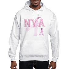 NYA initials, Pink Ribbon, Hoodie Sweatshirt