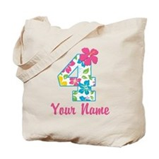 4th Birthday Tropical Tote Bag