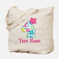 4th Birthday Tropical Tote Bag