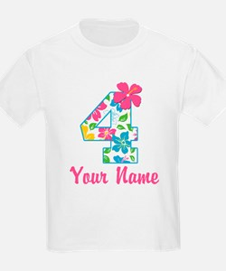 4th Birthday Tropical T-Shirt