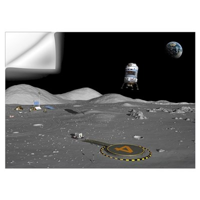 Lunar shuttle landing, artwork Wall Decal
