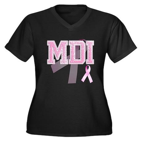 MDI initials, Pink Ribbon, Women's Plus Size V-Nec