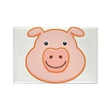 Happy Pig Face Rectangle Magnet