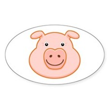 Happy Pig Face Oval Decal