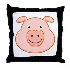 Happy Pig Face Throw Pillow