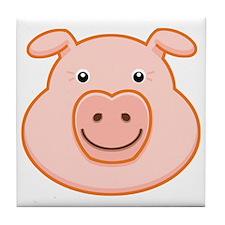 Happy Pig Face Tile Coaster