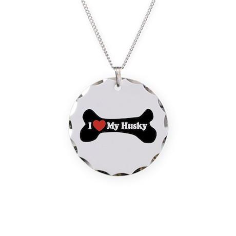 I Love My Husky - Dog Bone Necklace Circle Charm