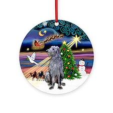 Xmas Magic & Scottish Deerhound Ornament (Round)