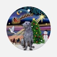 Xmas Magic & Scottish Deerhound Ornament (Round)