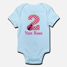 2nd Birthday Ladybug Pink Green Infant Bodysuit