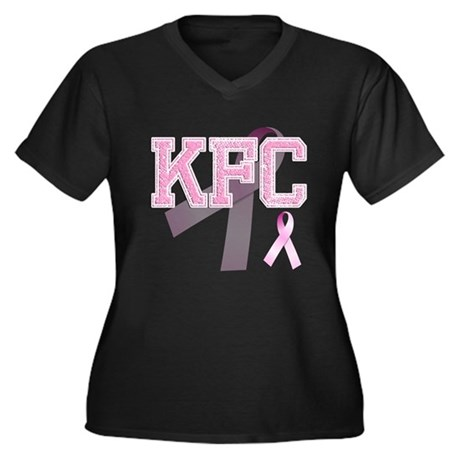KFC initials, Pink Ribbon, Women's Plus Size V-Nec