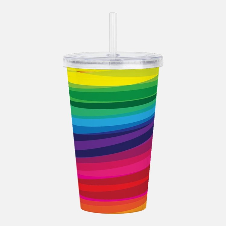 Bright Multicolored Ra Acrylic Double-wall Tumbler
