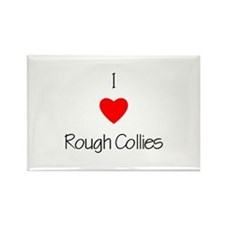 I Love Rough Collies Rectangle Magnet (100 pack)