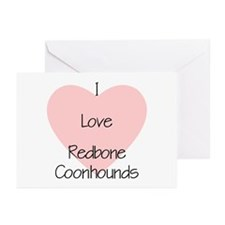 I Love Redbone Coonhounds Greeting Cards (Package