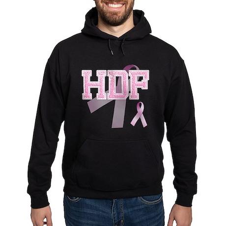 HDF initials, Pink Ribbon, Hoodie (dark)