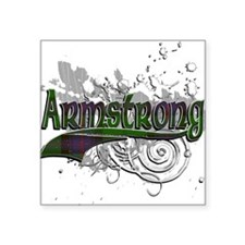 "Armstrong Tartan Grunge Square Sticker 3"" x 3"""