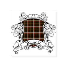 """Black Tartan Shield Square Sticker 3"""" x 3"""""""