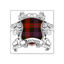 "Brown Tartan Shield Square Sticker 3"" x 3"""