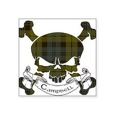"""Campbell Tartan Skull Square Sticker 3"""" x 3"""""""
