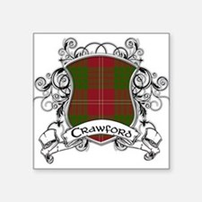 "Crawford Tartan Shield Square Sticker 3"" x 3"""