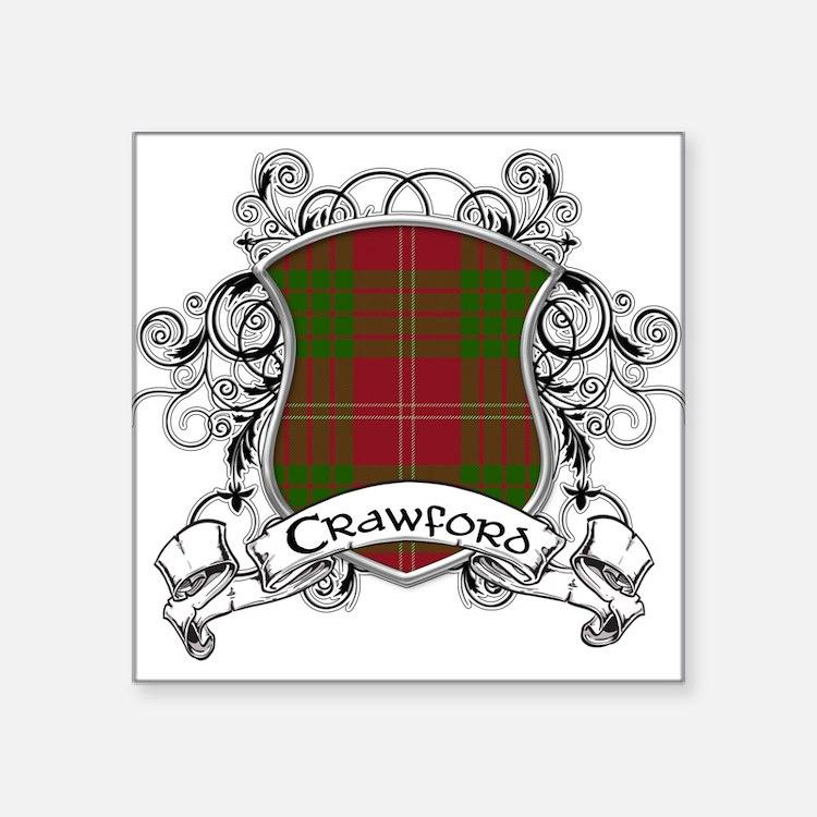 """Crawford Tartan Shield Square Sticker 3"""" x 3"""""""