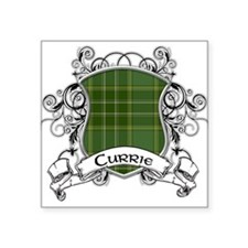 "Currie Tartan Shield Square Sticker 3"" x 3"""