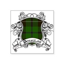 "Douglas Tartan Shield Square Sticker 3"" x 3"""
