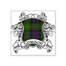 "Gordon Tartan Shield Square Sticker 3"" x 3"""