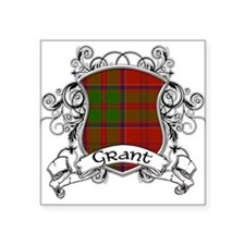 "Grant Tartan Shield Square Sticker 3"" x 3"""