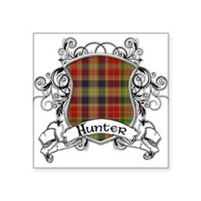 """Hunter Tartan Shield Square Sticker 3"""" x 3"""""""