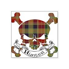 "Hunter Tartan Skull Square Sticker 3"" x 3"""