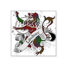 "Lindsay Tartan Lion Square Sticker 3"" x 3"""