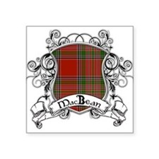 "MacBean Tartan Shield Square Sticker 3"" x 3"""