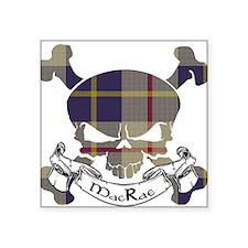 "MacRae Tartan Skull Square Sticker 3"" x 3"""