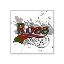 "Ross Tartan Grunge Square Sticker 3"" x 3"""