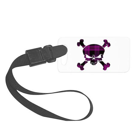 Pink Black Tartan Skull Small Luggage Tag