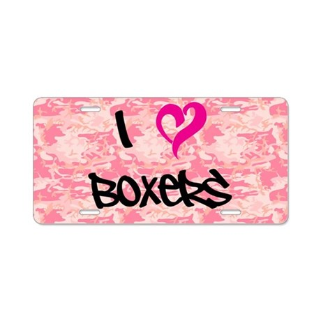 I Heart Boxers Pink Camo Aluminum License Plate