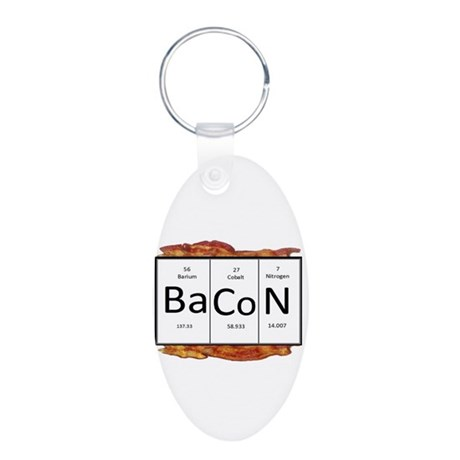 Periodic Bacon Aluminum Oval Keychain