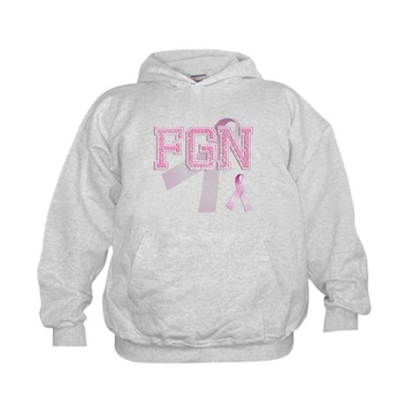 FGN initials, Pink Ribbon, Kids Hoodie
