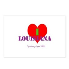 I Love Louisiana Heart Postcards (Package of 8)
