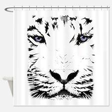 White Tiger for White Shower Curtain