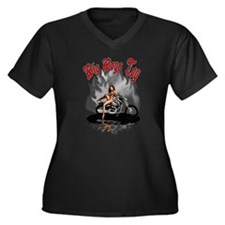 Big Boys Toy Women's Plus Size V-Neck Dark T-Shirt
