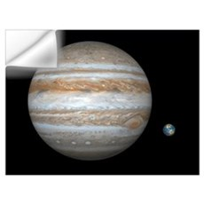 Jupiter and Earth compared, artwork Wall Decal