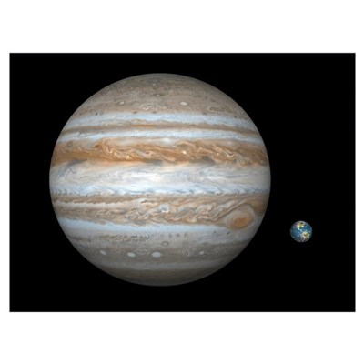 Jupiter and Earth compared, artwork Poster