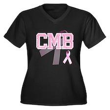 CMB initials, Pink Ribbon, Women's Plus Size V-Nec