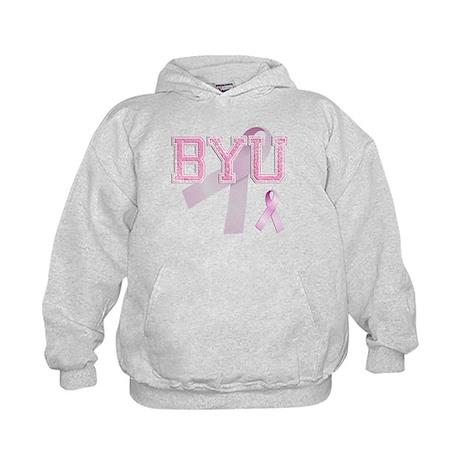 BYU initials, Pink Ribbon, Kids Hoodie