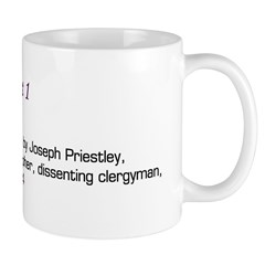Mug: Oxygen was discovered by Joseph Priestley, En