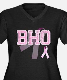 BHO initials, Pink Ribbon, Women's Plus Size V-Nec