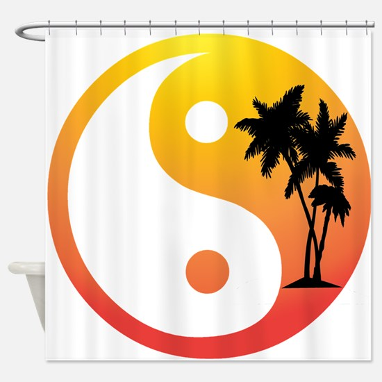 Palm Trees at Sunset Yin Yang Shower Curtain